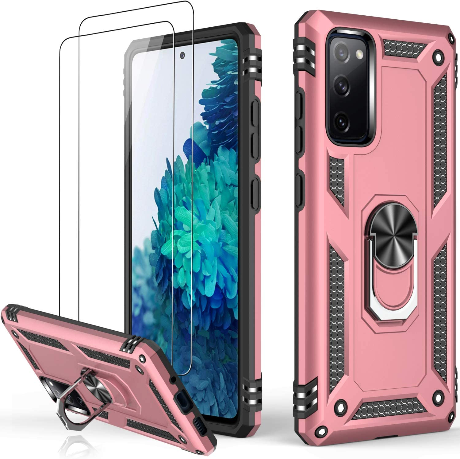 LUMARKE Samsung S20 FE Case with Screen Protector,Pass 16ft Drop Test Military Grade Heavy Duty Cover with Magnetic Kickstand for Car Mount,Protective Phone Case for Samsung Galaxy S20 FE Rose Gold