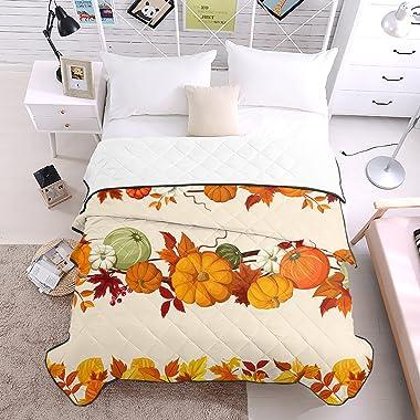 Soft Comforter Duvet Air Conditioning Quilt Pumpkin Thanksgiving Autumn Leaf All Season Blanket Coverlet Thin Summer Quilt fo