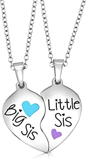 2 Piece Heart Halves Matching Big Sis Little Lil Sis Sisters Necklace Jewelry Gift Set Best Friends - Sister Necklaces for 2