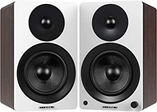 "Fluance Ai40WW Powered Two-Way 5"" 2.0 Bookshelf Speakers with 70W Class D Amplifier for Turntable, PC, HDTV & Bluetooth aptX Wireless Music Streaming (White Walnut)"