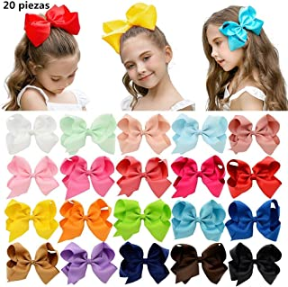 "PUBAMALL Multicolor Grosgrain Ribbon Boutique Hair Bows Pinzas de cocodrilo para niñas bebés Adolescentes Niños pequeños (20 piezas 6"")"