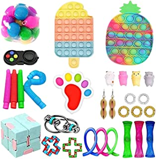 30 Pack Fidget Toys Anti Stress Set Stretchy Strings Push Pack Adults Children Squishy Sensory Antistress Relief Figet Toys