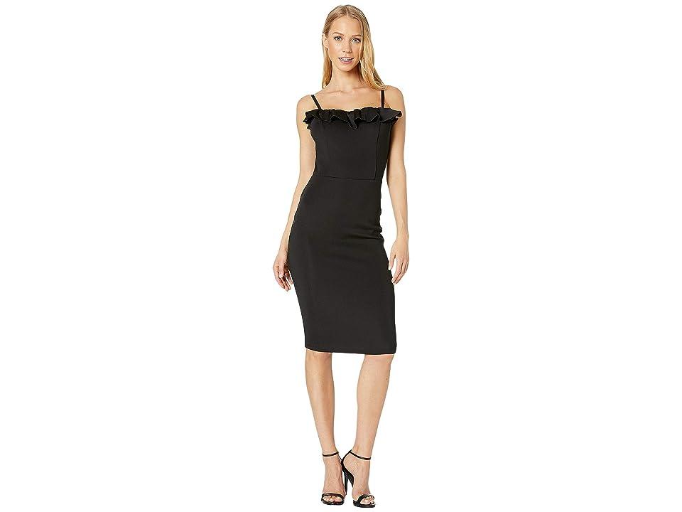 Bebe Reverse Ruffle Dress (Black) Women