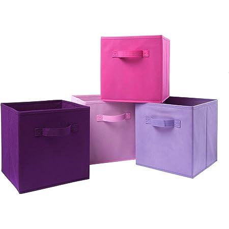 Homelife Assortiment de 4paniers de Rangement Pliables en Forme de Cube pour Le Linge, la literie, Les Jouets et Autres