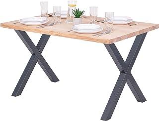 LAMO Manufaktur Table à Manger, Table pour Salle à Manger 120x80x76 cm, Bois Massif, Design, Frêne Sévère/Gris, LEG-01-A-0...