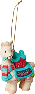 Precious Moments Llove You Llots 2019 Dated Bisque Porcelain Llama Christmas 191009 Ornament, One Size, Multi
