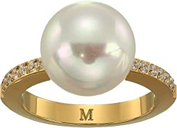 12mm Round Pearl Yellow Plated Ring with 1.25mm Of CZ Accents