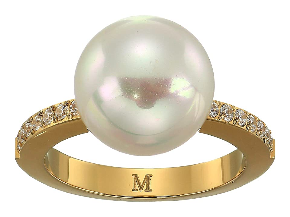 Majorica - Majorica 12mm Round Pearl Yellow Plated Ring with 1.25mm Of CZ Accents