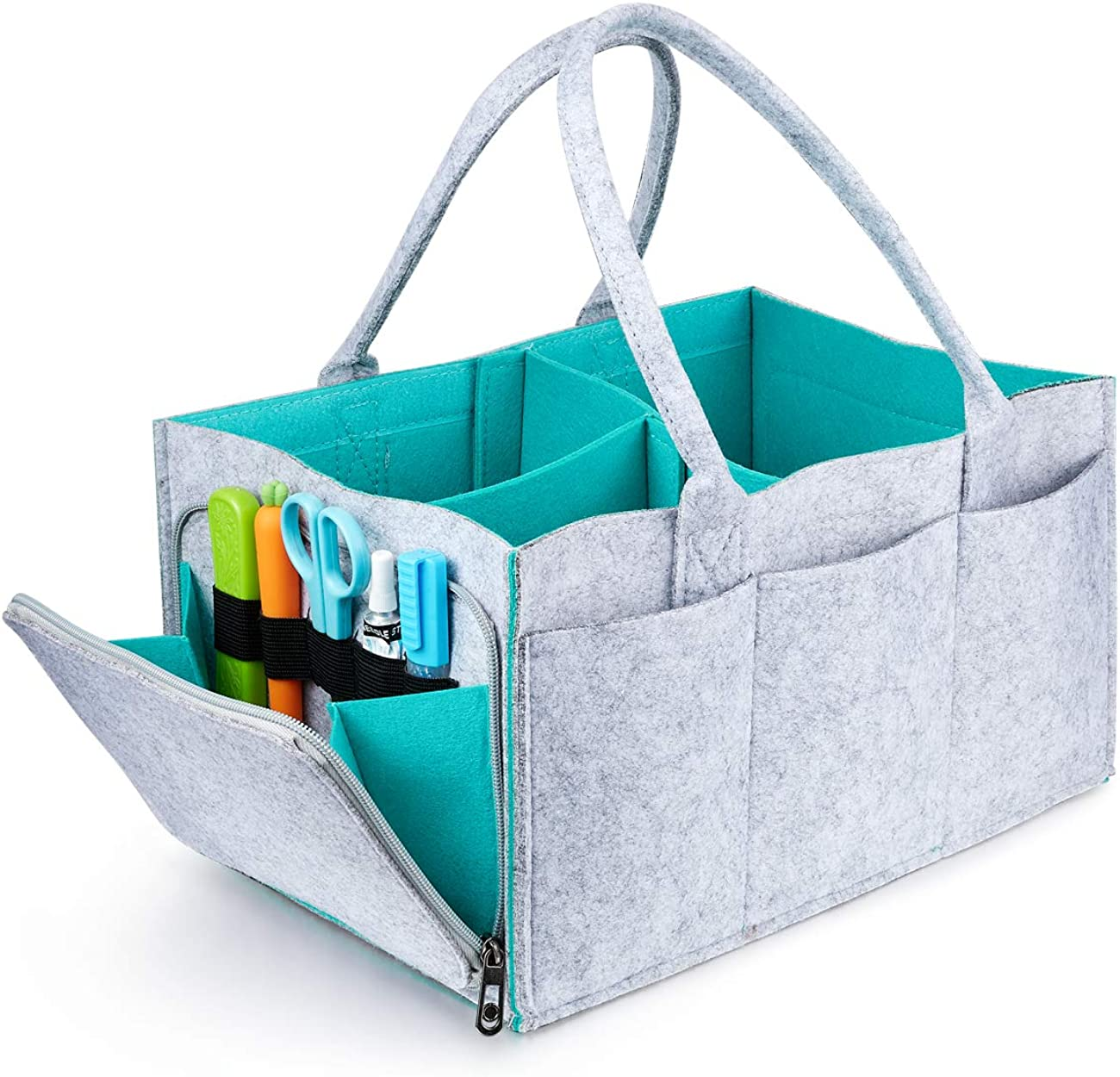 OAKING Baby Diaper Caddy - Nursery Storage Bin and Car Organizer for Diapers and Baby Wipes