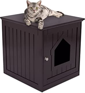 Internet's Best Decorative Cat House & Side Table - Cat Home Nightstand - Indoor Pet Crate - Litter Box Enclosure