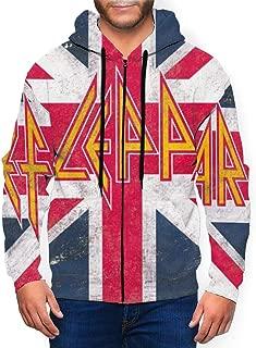 Def Leppard Union Jack Man Hoodies Hooded Sweatshirt Pullover Zip Up Hoody Black