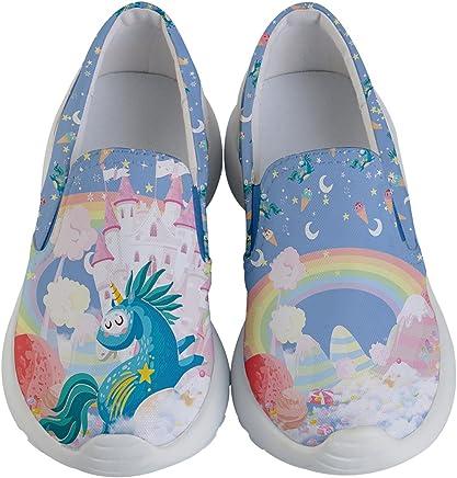 330ebccc6c273 PattyCandy Autumn Woodland Animals Unicorns Forest & Christmas Kids  Lightweight Slip Ons Shoes,Size:
