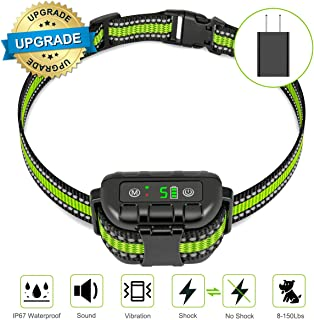 oneisall Bark Collar Large Dog- Upgraded No Bark Collar Rechargeable Waterproof Dog Anti Barking Control Devices-Shock Collar for Small Medium Dogs-No Harm Shock Smart Detection