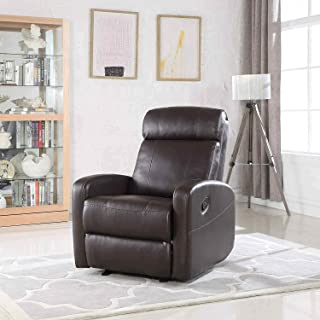 Brown Faux Leather Rocking Recliner Lounge Chair – Modern Overstuffed Ergonomic Lounger Chair, Comfortable Padded Seats for Living or Home Theater Room, Office Lounge Seating Rocker Recliners (Brown)