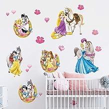 decalmile Stickers Muraux Princesse Autocollant D/écoratifs Ch/âteau F/ée Filles D/écoration Murale B/éb/é Fille Chambre Enfants P/épini/ère