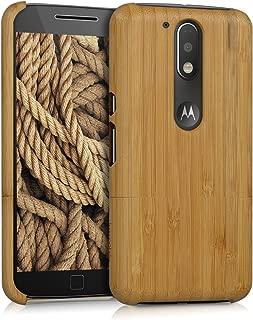 kwmobile Motorola Moto G4 / Moto G4 Plus Bamboo Wood Case - Natural Solid Hard Wooden Protective Cover for Motorola Moto G4 / Moto G4 Plus