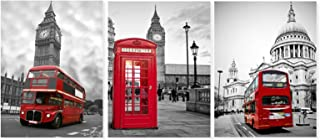 Canvas Print Paintings with Frames Wall Art Decor London Street Views Art Prints Pictures Bus Big Ben Clock Tower Telephon...