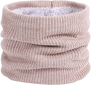Lo Shokim Fleece Neck Warmer, Double Layer Warm Ribbed Neck Gaiter Circle Scarf for Men and Women, Cold Weather Gear