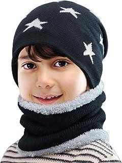 طقم من قطعتين من قبعة الشتاء المنسوجة من Maylisacc ووشاح لتدفئة الرقبة من الصوف للأولاد والبنات