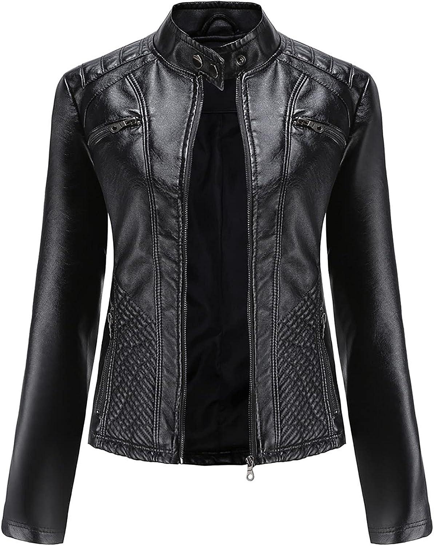 Women's Slim Leather Stand Collar Zip Motorcycle Suit Belt Coat Jacket Tops