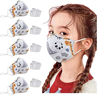 5PC Children's Cartoon Face Covering 10PC Filter Gasket Dustproof Reusable Face Protection Bandana Ear Loop Washable Balaclava Scarf Neck Gaiter for Kids Boys Girls Teens