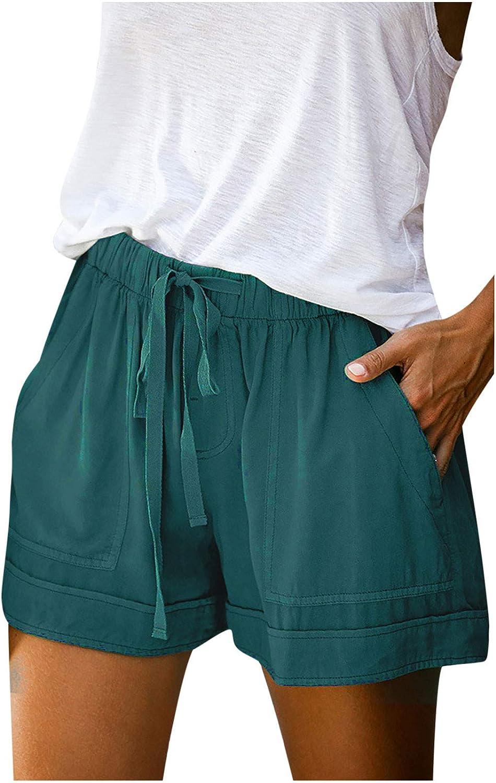 POLLYANNA KEONG Shorts for Women,Womens Plus Size Shorts Summer Drawstring Elastic Waist Casual Comfy Beach Short Pockets
