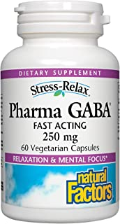 Stress-Relax Pharma GABA 250 mg by Natural Factors, Non-Drowsy Stress Support for Relaxation and Mental Focus, 60 Vegetari...