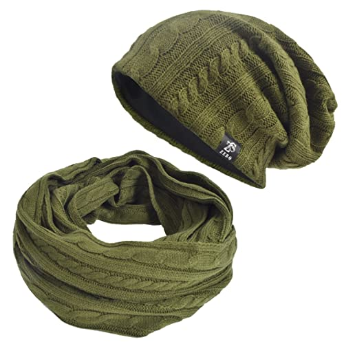 74736ece016 JESSE · RENA Men Women s Cable Knitted Winter Infinity Scarf and Slouchy  Beanie Hat Set (