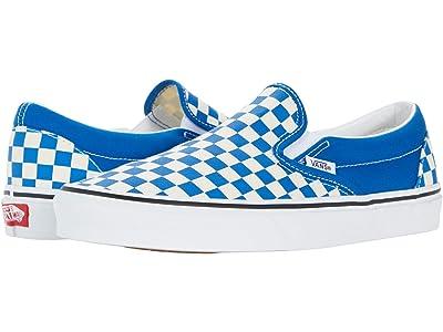 Vans Classic Slip-On ((Checkboard) Imperial Blue/True White) Skate Shoes