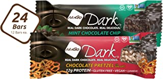 NuGo Dark Variety - Chocolate Pretzel 12 bars & Mint Chocolate Chip 12 bars, Vegan, 200 Calorie, Gluten Free, 24 count