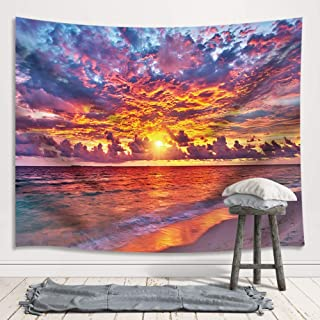JAWO Tropical Ocean Sunset Sea Landscape Tapestry Wall Hanging Decoration, Purple Clouds and Gloden Sunshine, Wall Tapestry for Dorm Living Room Bedroom, Wall Blanket Wall Decor Wall Art Home Decor