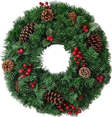 Coronas y guirnaldas de navidad Pino tela escocesa de la cinta y cono del pino de la guirnalda de algodón Navidad de la guirnalda de la puerta Decoración de la guirnalda de