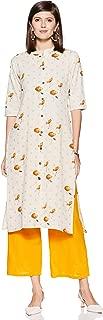 Appirant Women's Cotton Front Slit Kurta with Palazzo Set (Off White)
