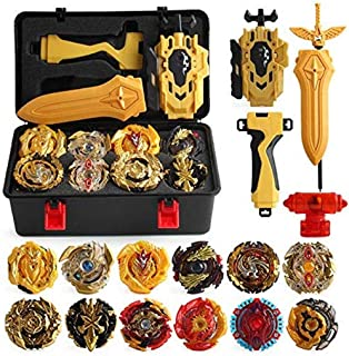 XIXI-POPOMT 12 Pcs Gyros Burst Turbo Gyros Top Evolution Metal Fusion Bay Blade Battle Gyro Battling Tops Game Set with 12 Spinning Top and 3 Launchers, Age 8+ ,Black