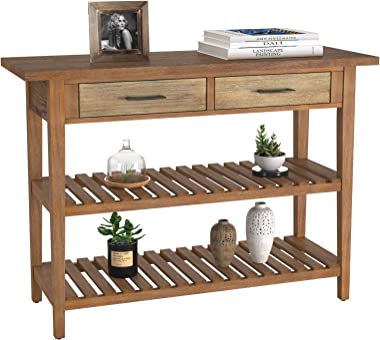 HOMECHO Rustic Console Table with Drawers, Farmhouse Hallway Entryway Table with Storage, Accent Sofa Table with 2 Shelves fo