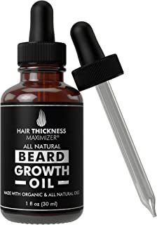 Best Organic Beard Oil for Men by Hair Thickness Maximizer. For Men's Natural Beard Growth and Grooming. Also Great as Mustache Oil. Oils - Argan, Jojoba, Moringa, and more. (1 oz)