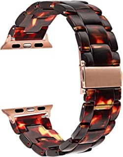 TRUMiRR Watchband Compatible for 38mm 40mm Apple Watch Women, TRUMiRR Fashion Resin Watchband Metal Stainless Steel Buckle Strap Bracelet for iWatch Apple Watch Series 5 4 3 2 1 All Models