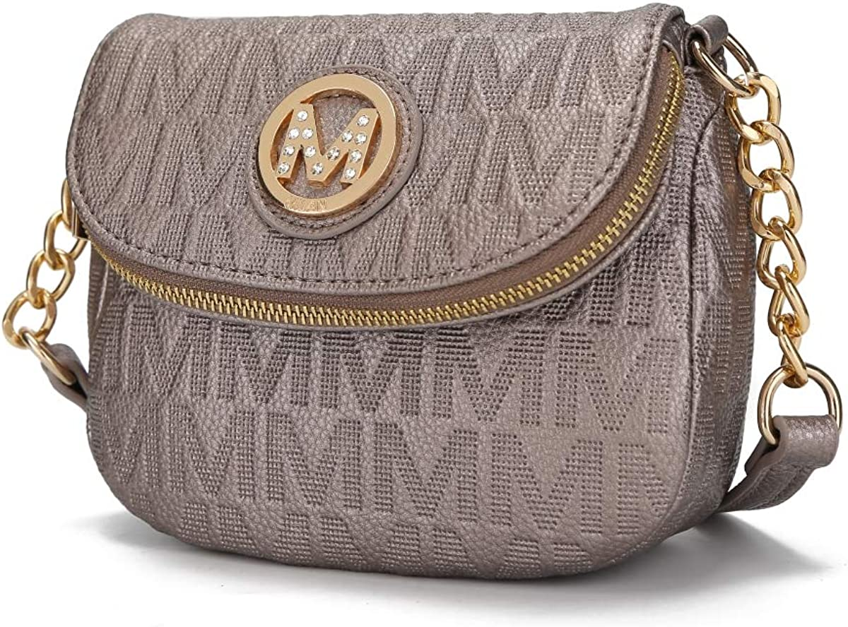 MKF Collection by Mia K. MKF-PU7759PW Cassidy M Signature Crossbody Bag by Mia K. - Pewter