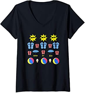 Womens Sun Flip Flop Beach Umbrella Ball Ice Cream Fun V-Neck T-Shirt