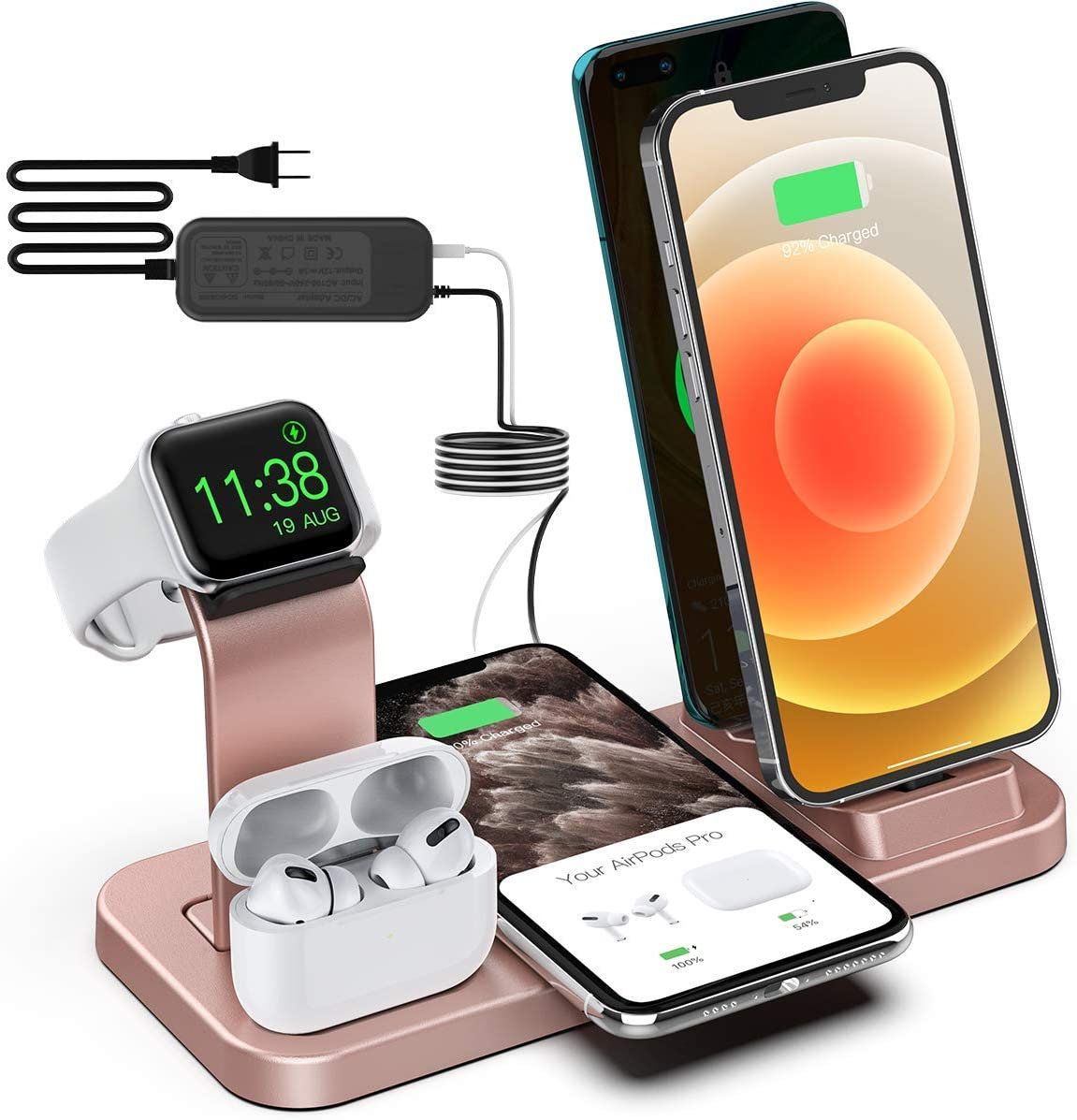 BeaSaf Wireless Charger,5 in 1 Wireless Charging Station for iPhone Samsung, USB C Dock Station for Android Phones, Charging Stand for Apple Watch Series 6 /SE/5/4/3/2/1 AirPods Pro 2 1 Rose Gold