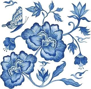 Home Collection Maison Cuisine Set 40 Serviettes de Table Jetables 3 Plis Motif Bleu Pivoine Paeonia