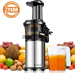 Aobosi Slow Masticating Juicer Extractor Compact Cold Press Juicer Machine with Portable Handle/Quiet Motor/Reverse Function/Juice Jug and Clean Brush for High Nutrient Fruit & Vegetable Juice 🍎New Package---ON SALE🍎