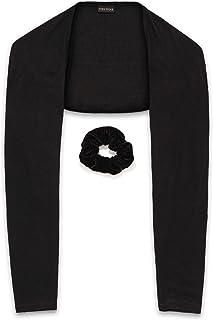 Fern Hijab Shrug for Women with Bonus Scrunchy   Black Bolero Shrugs Long Sleeve Arm Warmer   One-Piece Sleeves