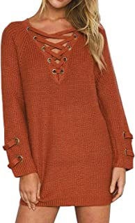 BOBIBI Women's Lace Up Front V Neck Long Sleeve Knit Pullover Sweater Mini Dress Top