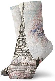 tyui7, Street View of Paris Pintura al óleo Calcetines de compresión antideslizantes Cosy Athletic 30cm Crew Calcetines para hombres, mujeres, niños