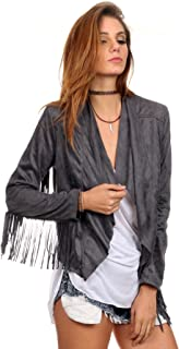 MeshMe Womens Ginny - Faux Suede Fringed Blazer Jacket