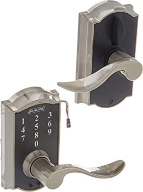 Schlage Lock Company FE695CAM619ACC Camelot Electronic Leverset, Satin Nickel