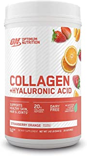 Collagen Peptides Powder By Optimum Nutrition, Vitamin C & D for Immune Support, 20g Hydrolyzed Collagen with Hyaluronic A...