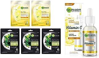 Garnier Skin Naturals Face Serum Sheet Mask (3 Charcoal + 2 Light Complete) (Pack Of 5), 220 (Pack of 5) and Garnier Light...