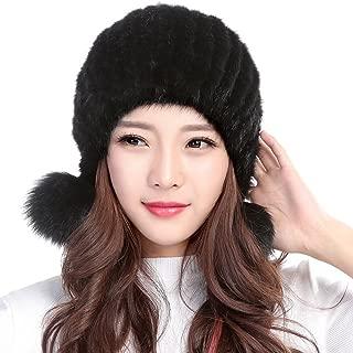 Womens Winter Hat Knitted Mink Fur Hats Fox Pom Pom